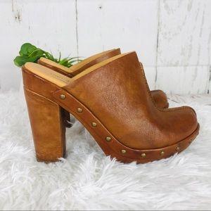 Korke-Ease brown leather mule/cloge